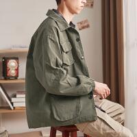 [2.5折价169元】唐狮工装外套男春秋新款港风多口袋衬衫外套韩版潮流休闲夹克