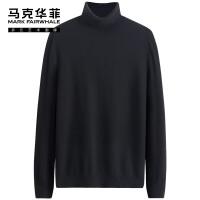 马克华菲灰色高领羊毛衫100纯羊毛2020秋冬新款韩版薄款冬季毛衣