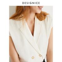 迪赛尼斯夏装新款韩版衬衣小上衣西装领复古气质白色衬衫女