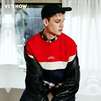 viishow2017春装新款男士套头卫衣青少年上衣圆领男生撞色潮外套