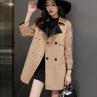 麂皮绒外套女装秋季新款西装领双排口大码韩版显瘦百搭风衣潮