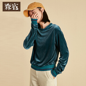 【尾品直降】森宿P三分钟之后冬装新款文艺撞色罗纹领宽松丝绒长袖T恤女