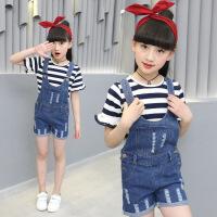 儿童牛仔背带短裤夏季2018新款韩版连体吊带裤套装女孩