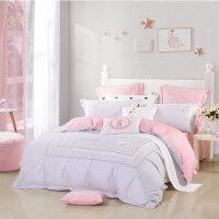 【1件5折】水星家纺全棉卡通四件套纯棉被套女童床上用品床单天鹅梦