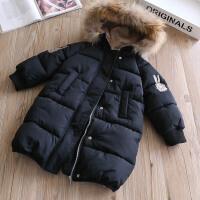 女童棉衣加厚款冬装新款宝宝中长款真毛领保棉袄保暖外套