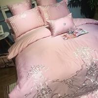 女神款粉色公主风订结婚纯棉床品四件套婚庆欧式刺绣床上用品2.0