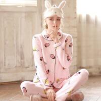 梦蜜 草莓秋季孕妇睡衣产妇喂奶家居服产后月子服秋冬哺乳睡衣套