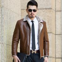 冬季中年男士皮毛一体真皮皮衣夹克加绒加厚外套休闲西装领爸爸装