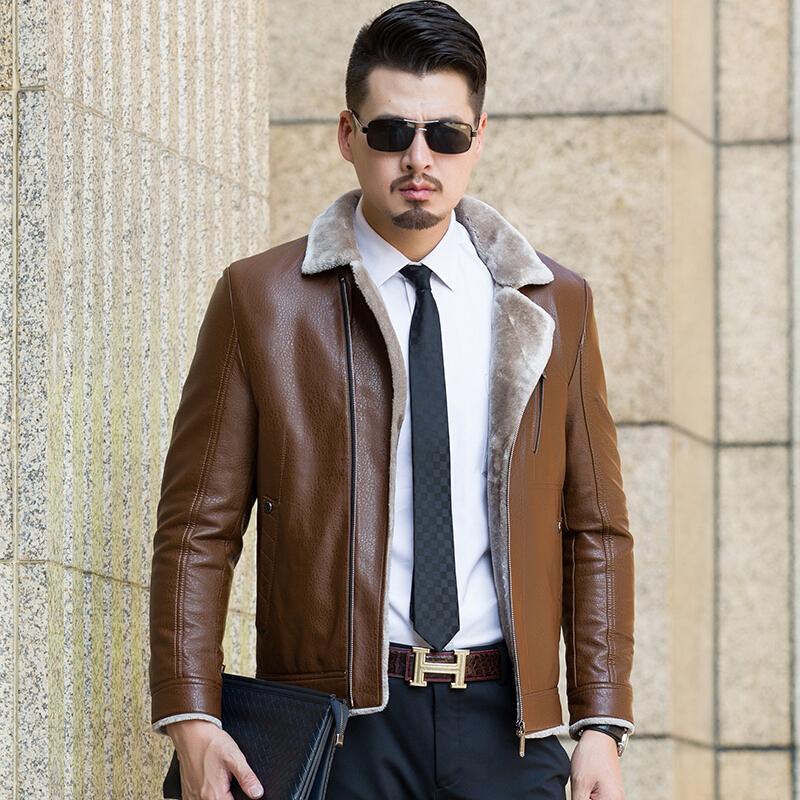 冬季中年男士皮毛一体真皮皮衣夹克加绒加厚外套休闲西装领爸爸装 一般在付款后3-90天左右发货,具体发货时间请以与客服协商的时间为准