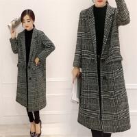中长款呢子大衣女千鸟格2017秋冬季新款女装修身显瘦加厚毛呢外套
