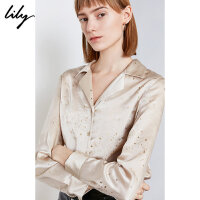 Lily2019冬新款女装时髦光泽感星星烫金西装领宽松单排扣衬衫4921