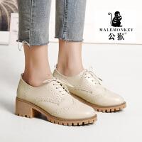 公猴人气爆款春秋季新款女鞋休闲英伦风舒适时尚布洛克小皮鞋中跟粗跟单鞋学院风