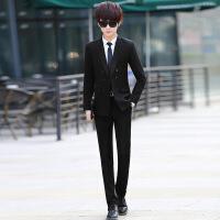 休闲西服男套装韩版 男士时尚休闲小西装新郎结婚礼服三件套外套