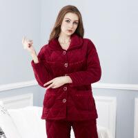 睡衣 秋冬季珊瑚绒三层加厚夹棉睡衣女式加绒加厚家居服套装 紫嫣