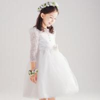 夏装花童礼服女童公主裙儿童蓬蓬裙长袖婚纱裙小孩演出服白 米白色