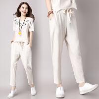 2018夏季新款棉麻女装两件套宽松短袖上衣+长裤亚麻时尚套装