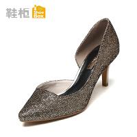 达芙妮旗下shoebox鞋柜新品时尚休闲单鞋女 酒杯跟套脚女鞋潮