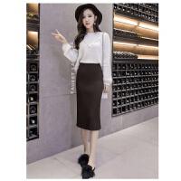 新款冬季裙子针织半身裙女韩版中长款包臀裙秋冬厚开叉一步裙 均码 80-120斤