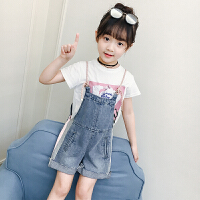童装女童2018夏季新款韩版时尚两件套小女孩背带裤子洋气套装