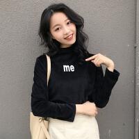 秋冬女装新款韩版修身长袖字母印花丝绒半高领T恤打底衫学生