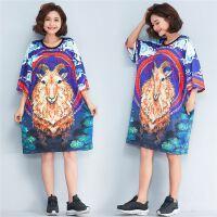 韩版bf风短袖T恤女 夏季新款宽松大码卡通印花中长款个性连衣裙潮