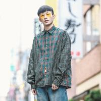 衣柜日系清新港风宽松长袖格子衬衫男春季休闲韩版衬衣上衣