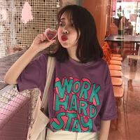 春夏女装韩版原宿风个性彩色字母宽松短袖T恤中袖打底衫上衣体恤