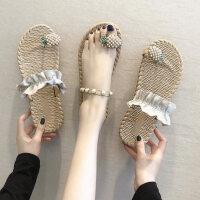 户外草编拖鞋女外穿时尚超火平底鞋休闲舒适女鞋