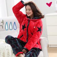 冬季大码加厚睡衣女士珊瑚绒夹棉韩版可爱运动冬天田园家居服套装