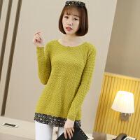 女士毛衣粗针秋冬新款套头韩版短款修身长袖上衣针织女打底衫