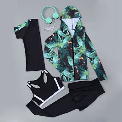 春夏健身房运动套装女晨跑步瑜伽服长袖速干上衣宽松健身服四件套 发货周期:一般在付款后2-90天左右发货,具体发货时间请以与客服协商的时间为准
