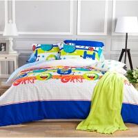 棉四件套全棉1.8m卡通床单套件儿童学生床上用品1.5/1.2