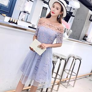 AGECENTRE 一字肩蕾丝连衣裙春装2018新款女装潮夏季初恋的裙子连衣裙