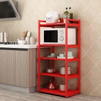 厨房置物架落地多层烤箱微波炉置物架锅架调料厨房用品收纳储物架 5层 红色板+红架