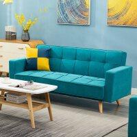 【品牌热卖】北欧沙发小户型家用客厅整装家具简约现代双人网红沙发公寓服装店 湖蓝色 单人位(75CM)