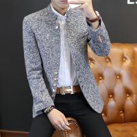 秋冬新款男士立领小西装韩版潮青年中长款西服男装外套修身中山装 灰色 立领西装 S