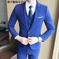 西服套装男士三件套商务正装职业西装修身伴郎新郎结婚礼服男秋季 TZ81-浅蓝色 XL