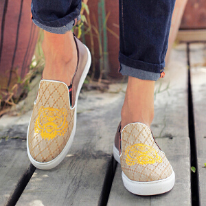阿迪达斯支撑/adiasZC板鞋男新款个性乐福鞋真牛皮拼接帆布休闲鞋3D印花一脚蹬懒人潮鞋