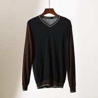 男装 冬装新款V领套头撞色拼接打底毛衫折扣男士针织衫