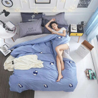 简约棉双人床单1.5米1.8四件套床品三套件1.2m棉学生被套夏季