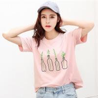 夏季新品韩版百搭棉创意瓶子刺绣圆领短袖T恤女装显瘦小衫