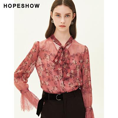 红袖碎花拼接蕾丝系带V领衬衫