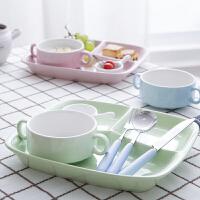 分餐餐盘分格陶瓷盘子早餐一人食餐具套装日式分隔托盘饭菜快餐盘