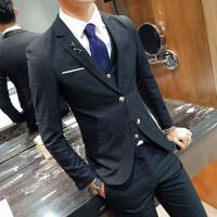 新郎西服套装男三件套修身休闲韩版男士西装英伦风结婚伴郎团礼服