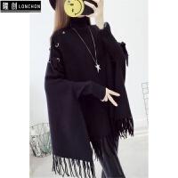 高领毛衣女套头中长款披肩蝙蝠衫女装韩版秋冬新款宽松针织衫线衣