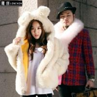 宇津木冬季韩版可爱兔耳朵连帽仿兔毛绒皮草毛毛外套加厚女装 象牙白