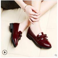 古奇天伦春季新款韩版百搭浅口女鞋子潮学生乐福鞋皮鞋女英伦中跟单鞋BC8471