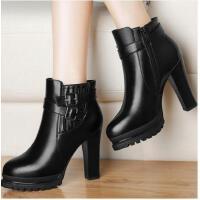 古奇天伦新款百搭女靴子秋冬季加绒高跟鞋女鞋子马丁靴英伦风短靴粗跟