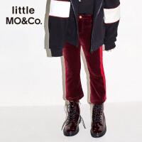 littlemoco秋季新品女童裤子松紧腰撞色条纹拼接保暖丝绒长裤