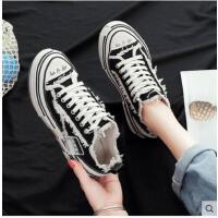 帆布鞋女新款学生韩版松糕厚底复古增高乞丐ins超火休闲板鞋